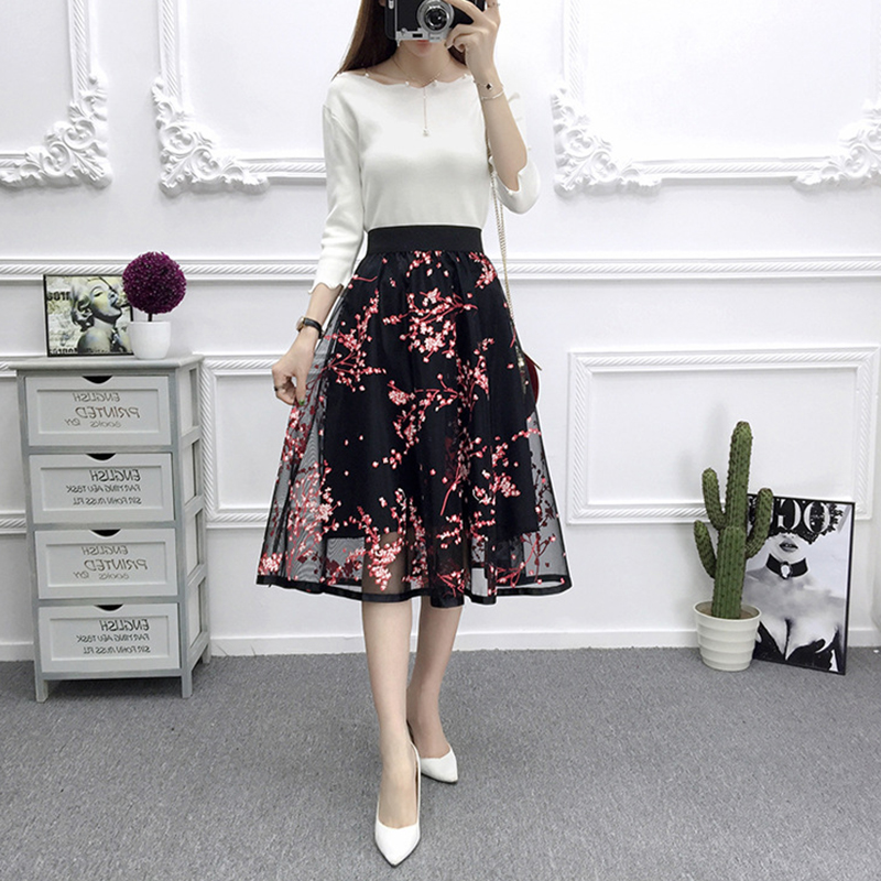 [Indonesia Direct] Women Summer Fashion Mesh Printing High Waist A-line Tutu Skirt red_One size