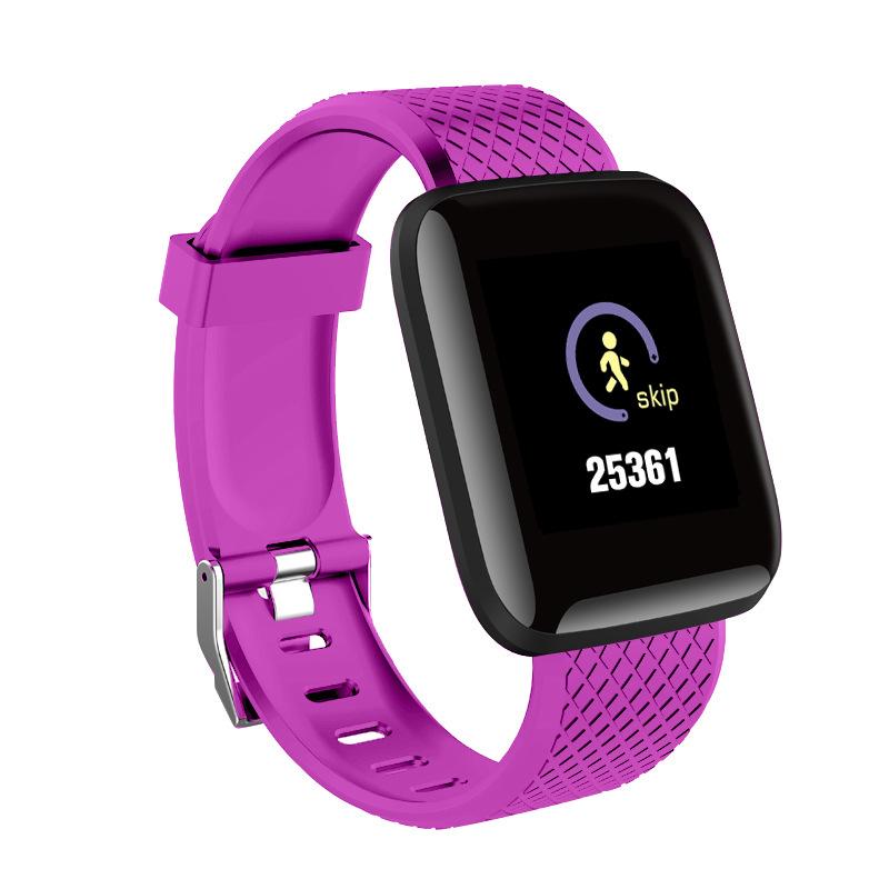 [Indonesia Direct] Bluetooth Heart Rate Blood Pressure Smart Watch Fitness Tracker Bracelet purple