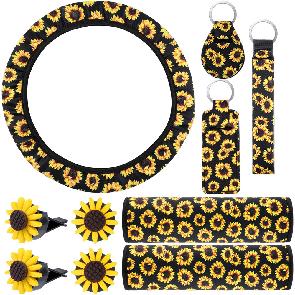 10pcs Sunflower Accessories For Car Steering Wheel Cover Keyring Car Vent Decorations Seat Belt Shoulder Pads Hand Sanitizer Cover