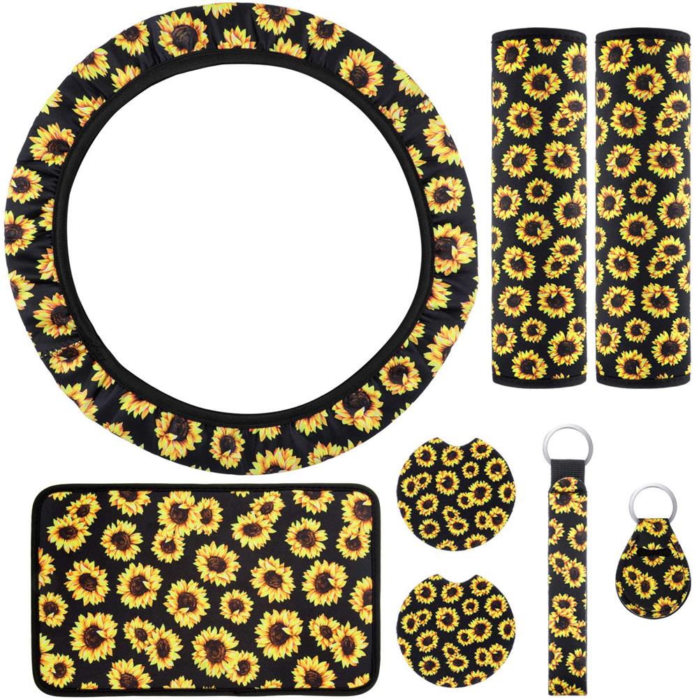 8pcs Sunflower Steering Wheel Cover Car Seat Belt Cover Armrest Cushion Sunflowers Keyring Coaster