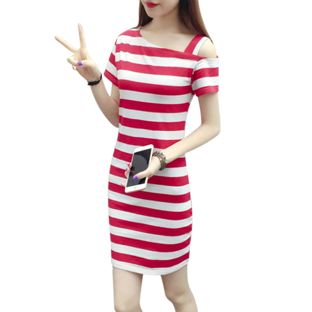 Printing Pullover Dress Off-shoulder Dress