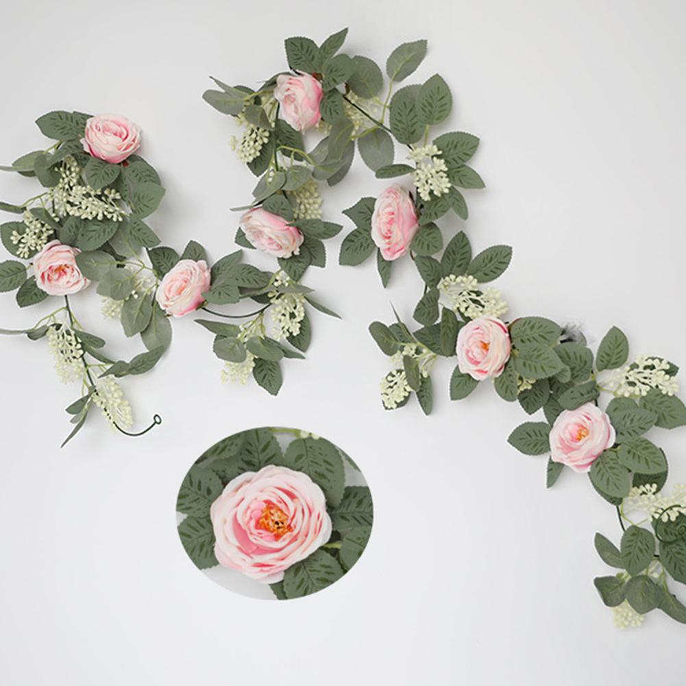 Silk Flower Artificial  Flower Rattan Wall-mounted Decorative Ornaments For Wedding Background Deep pink