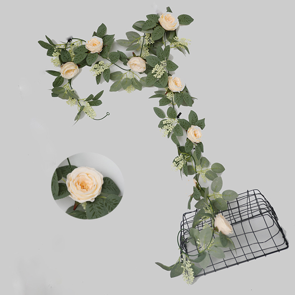 Silk Flower Artificial  Flower Rattan Wall-mounted Decorative Ornaments For Wedding Background Champagne