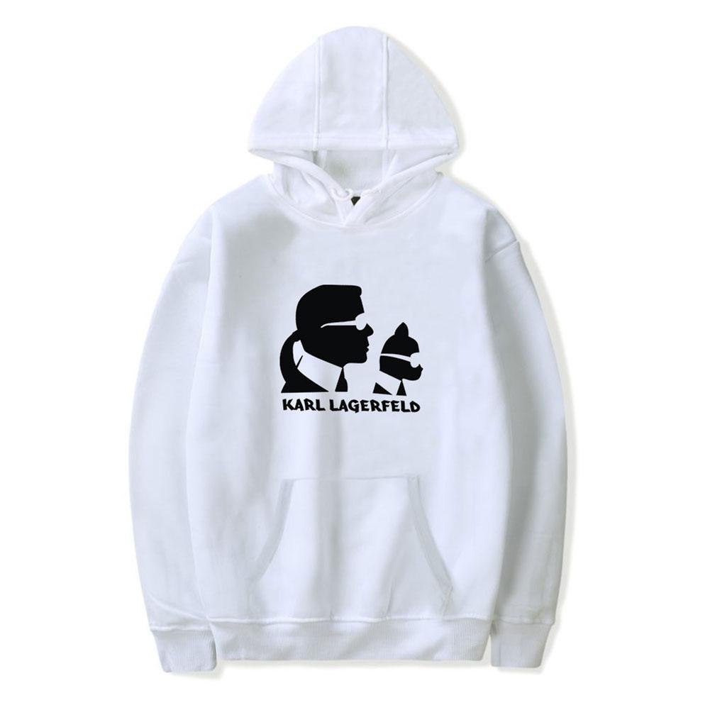 Men Fashion Printing Long Sleeve Hooded Sweatshirt B white_M