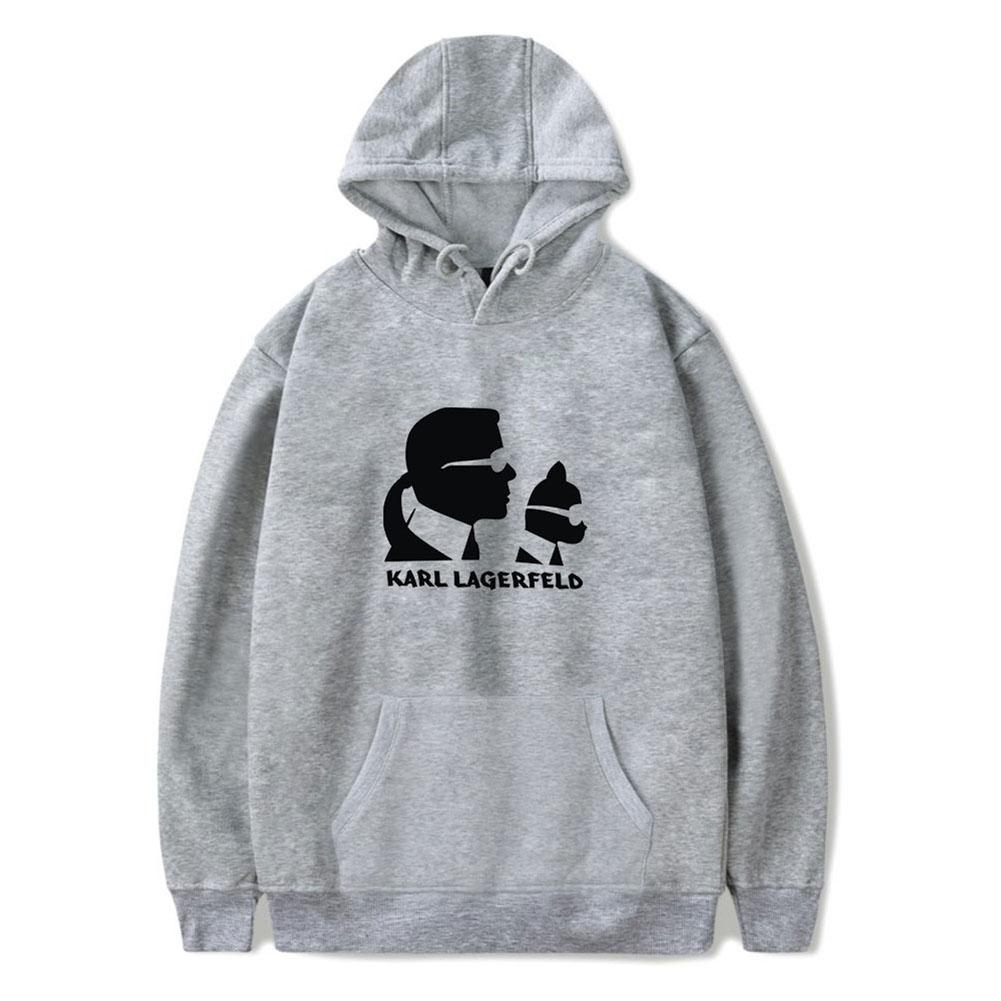 Men Fashion Printing Long Sleeve Hooded Sweatshirt C gray_XL