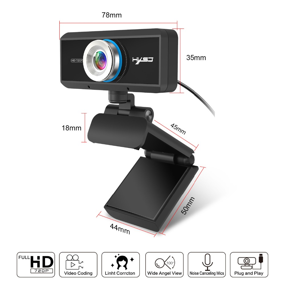 HXSJ S90 HD Webcam 720P Web Cam 360 Degree Rotating PC Camera Video Call Recording with Noise Reduction Microphone for PC