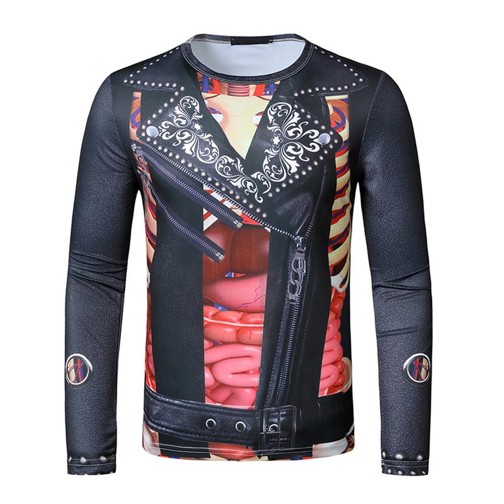 Men T Shirt 3D Digital Printing Halloween Series Print Long Sleeve Round  Neck Tops Black_M