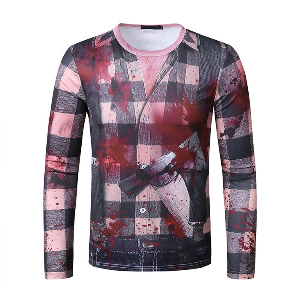 Men Long Sleeve T Shirt 3D Digital Printing Horror Theme Round Neck T-shirt for Halloween plaid_2XL