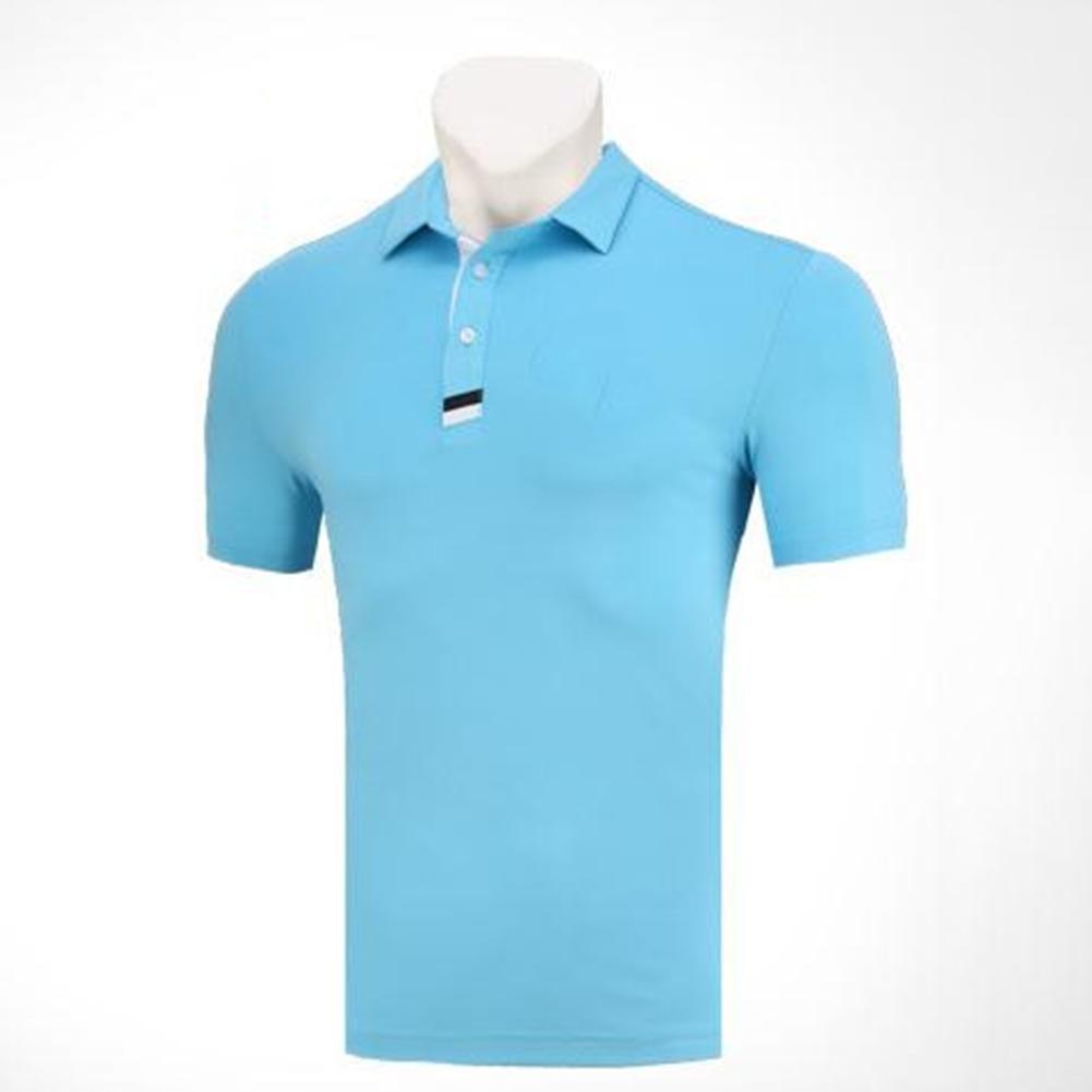 Golf Clothes Male Short Sleeve T-shirt Summer Golf Ball Uniform for Men Lake Blue_M