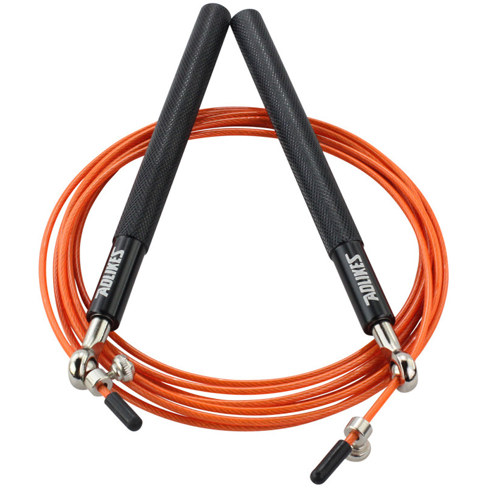 Crossfit Speed Jump Rope Professional Skipping Rope For MMA Boxing Fitness Skip Workout Training Black + orange  rope