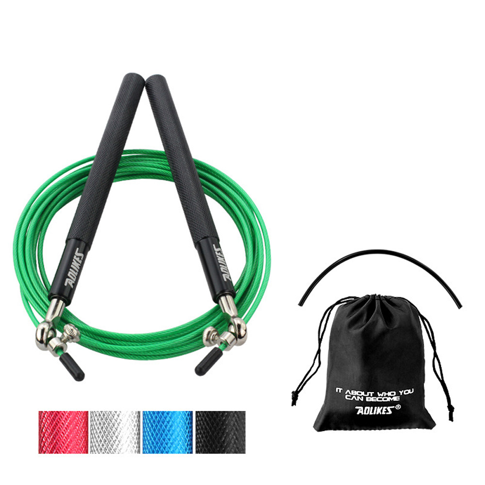 Crossfit Speed Jump Rope Professional Skipping Rope For MMA Boxing Fitness Skip Workout Training Black + green rope
