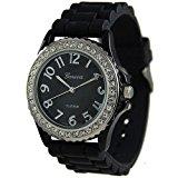 [EU Direct] Black Silver Silicone Gel Ceramic Style Band Crystal Bezel Watch