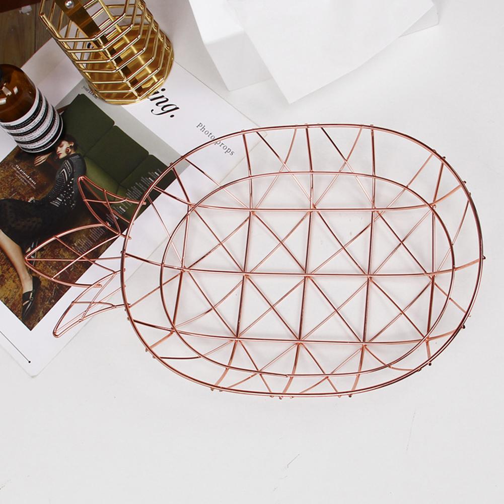 Fruit Storage Basket Iron Pineapple Shape Tray Nordic Style Dessert Snack Plate Rose gold