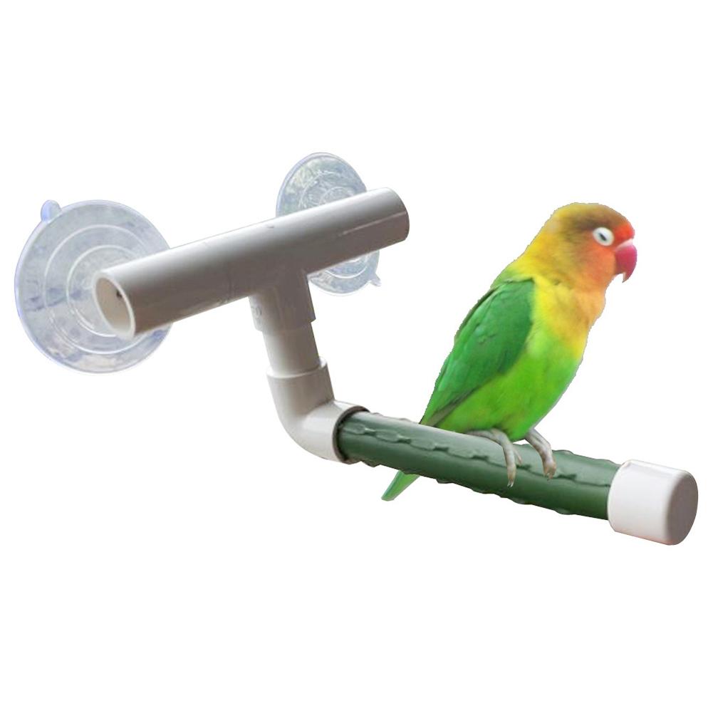 Bird Parrot Suction Cup Shower Perch Standing Bar Rod Bathing Toy Pet Supplies Shower Perch green