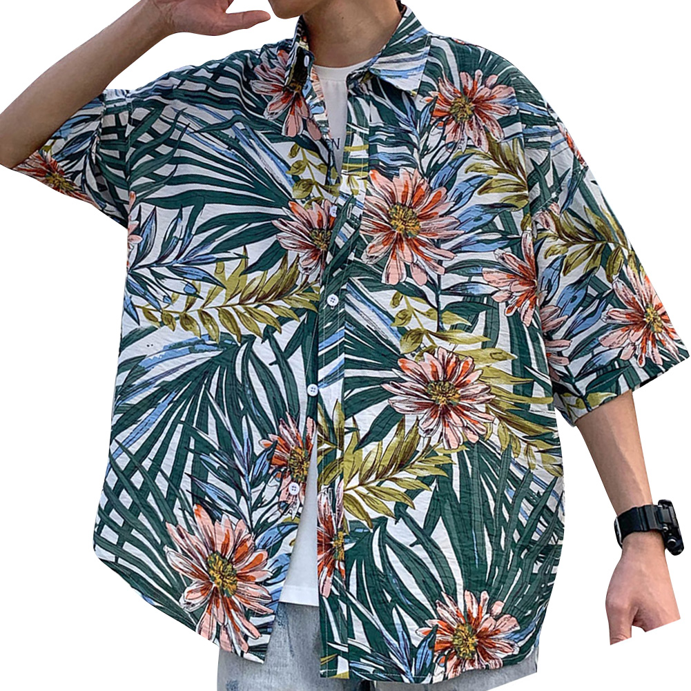 Women Men Leisure Shirt Personality Floral Printing Short Sleeve Retro Hawaii Beach Shirt Top Summer C109 #_XXL