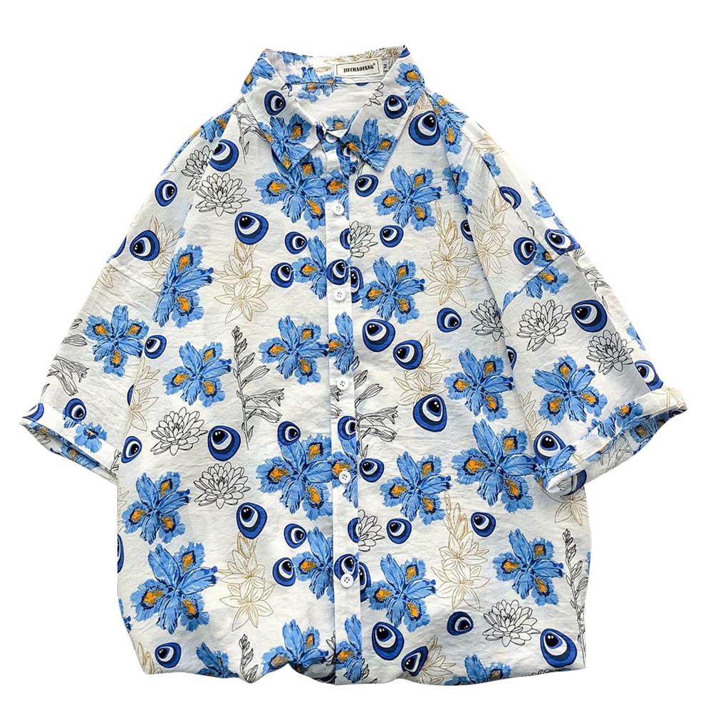 Women Men Leisure Shirt Personality Blue Floral Printing Short Sleeve Retro Hawaii Beach Shirt Top Summer C111 #_M