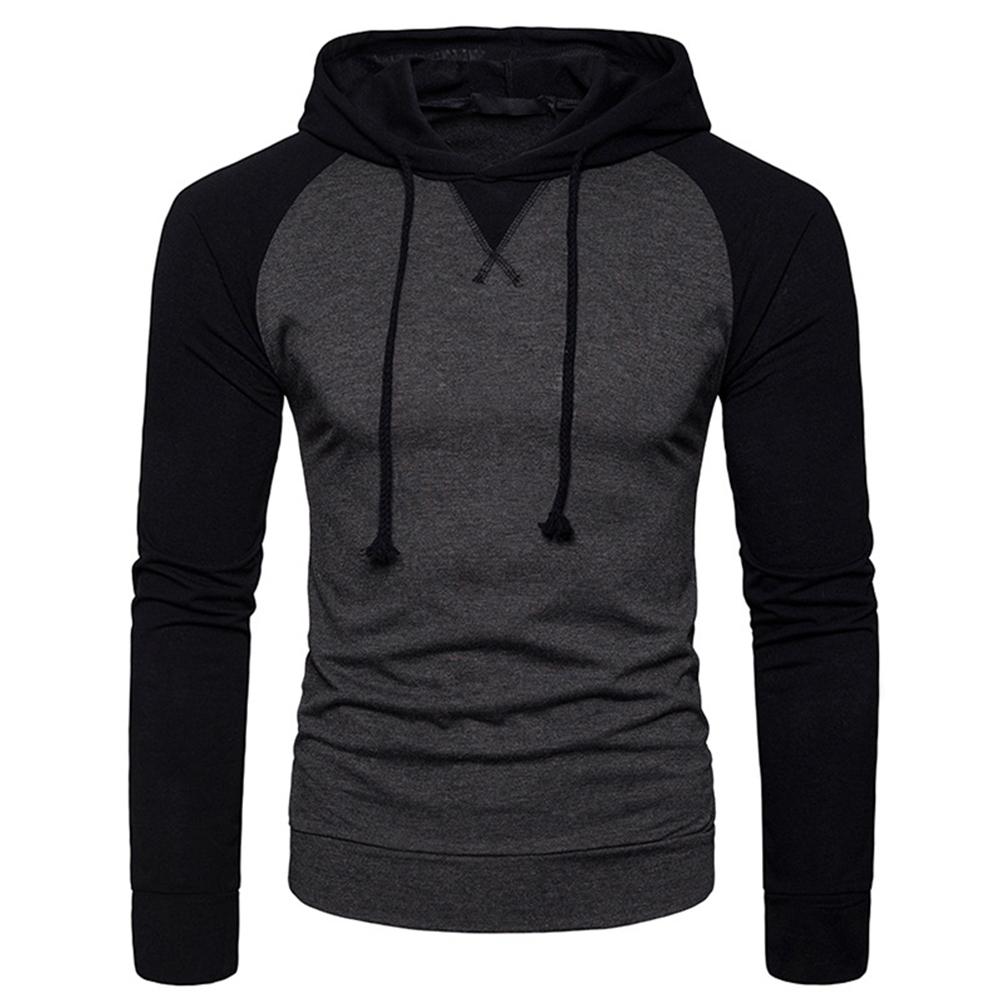 Men Hip-hop Long Sleeve Hoodie Fashion Combined Color Sports Casual Pullover Sweatshirt  Dark gray_L