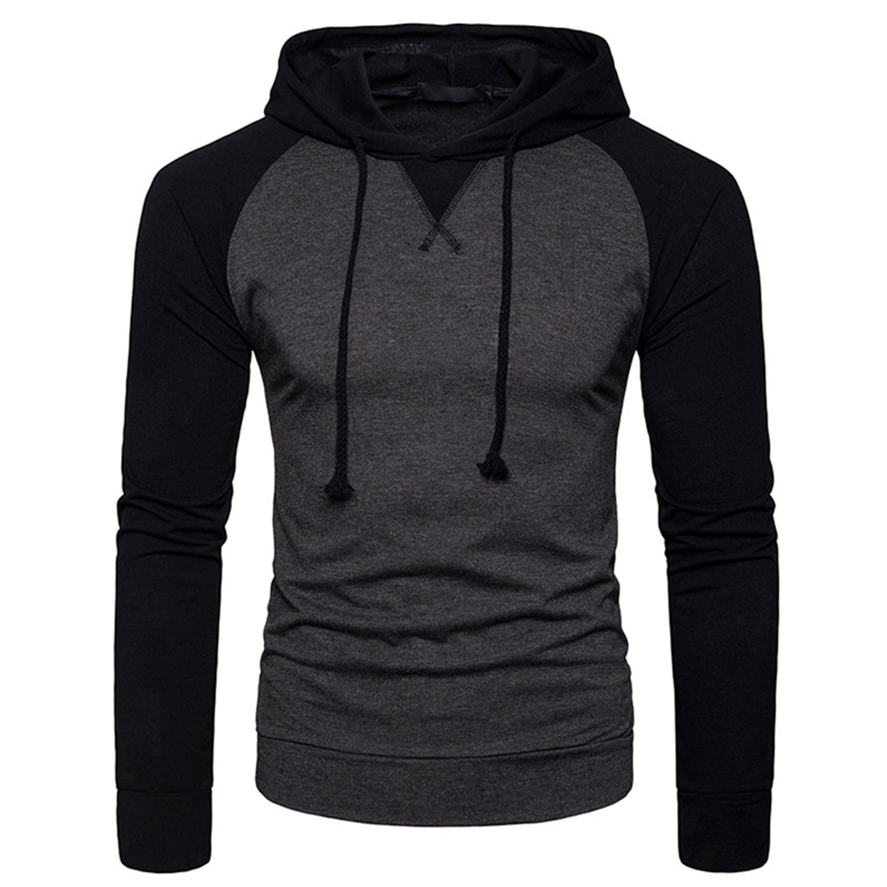 Men Hip-hop Long Sleeve Hoodie Fashion Combined Color Sports Casual Pullover Sweatshirt  Dark gray_XL