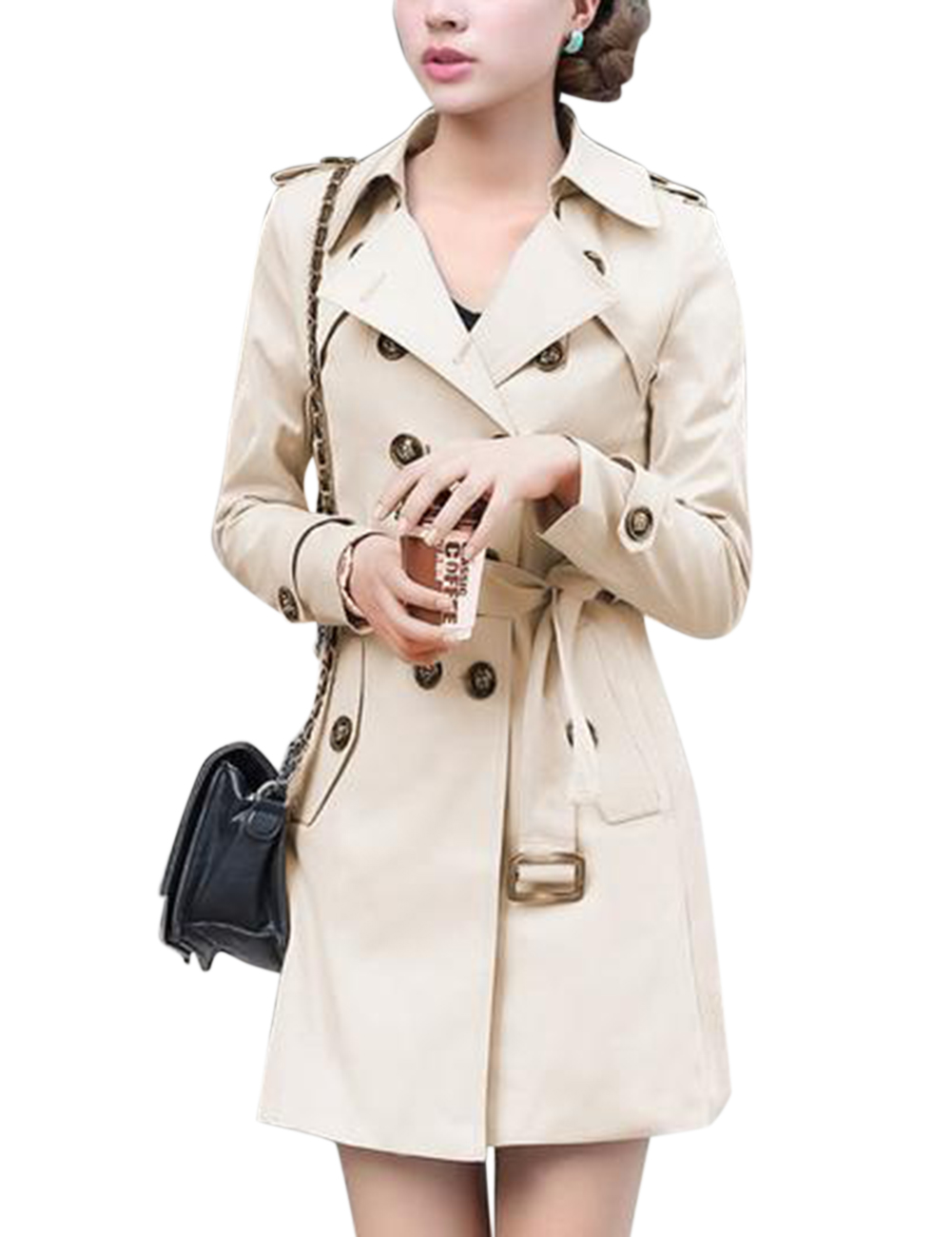 Woman Windbreaker Coat Double-breasted Belt