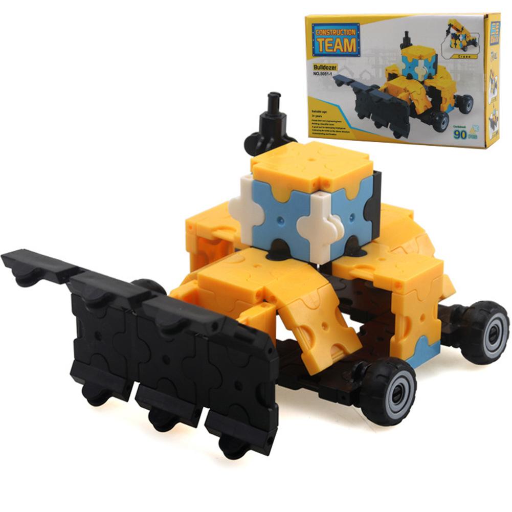 3D Building Blocks City Bricks Construction Engineering Blocks Creative Educational Toys 3D Building Blocks - Bulldozer 90pcs