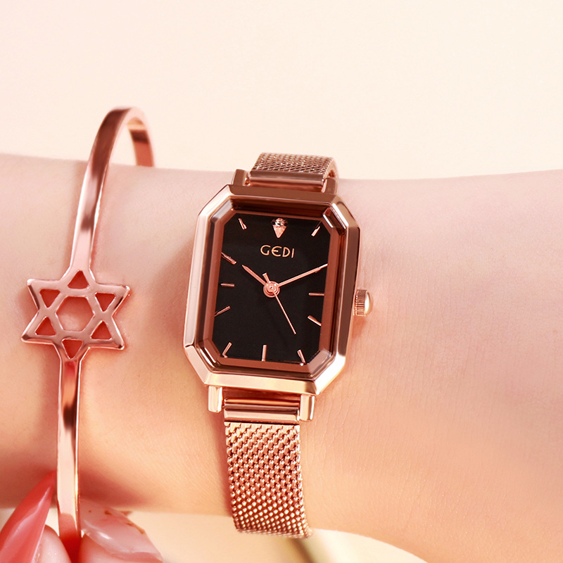 Women's Bling Starry Dial Analog Waterproof Quartz Wrist Watches for Student Casual Office  Rose gold shell black plate