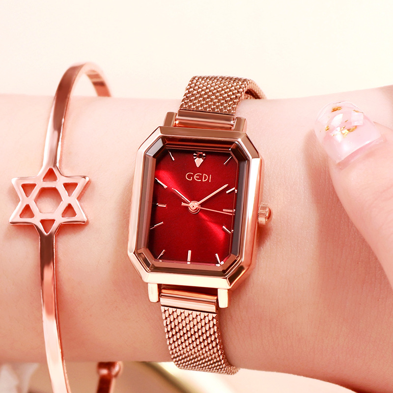 Women's Bling Starry Dial Analog Waterproof Quartz Wrist Watches for Student Casual Office  Rose gold shell red plate