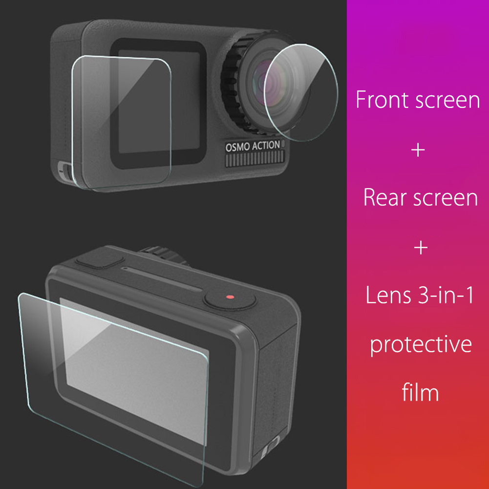 For Osmo Action Camera 3 in 1 Tempered Glass Protector Cover Case Lens Screen Protective Film Set