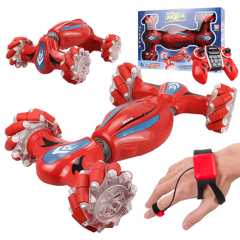 Rc Finger Induction Electric Car Kids Remote Control Stunt Cars Twisting Off-road Vehicle Light Music Dancing Toy Gift For Boys red