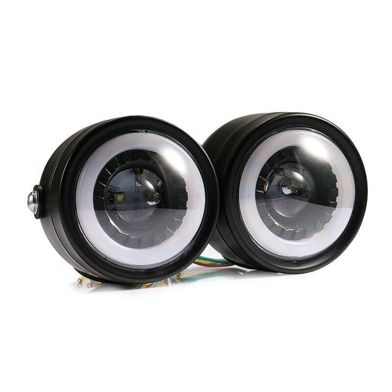 2pcs/set Motorcycle Led Twins Dual Headlight Retro Headlamp Daytime Turn Signal Light Blue-ray