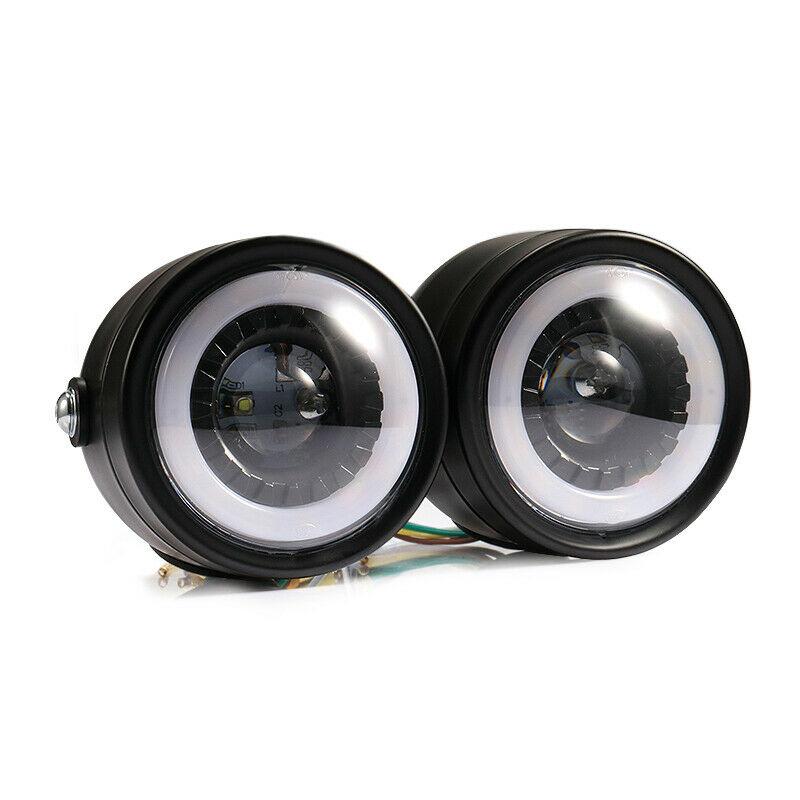 2pcs/set Motorcycle Led Twins Dual Headlight Retro Headlamp Daytime Turn Signal Light White light