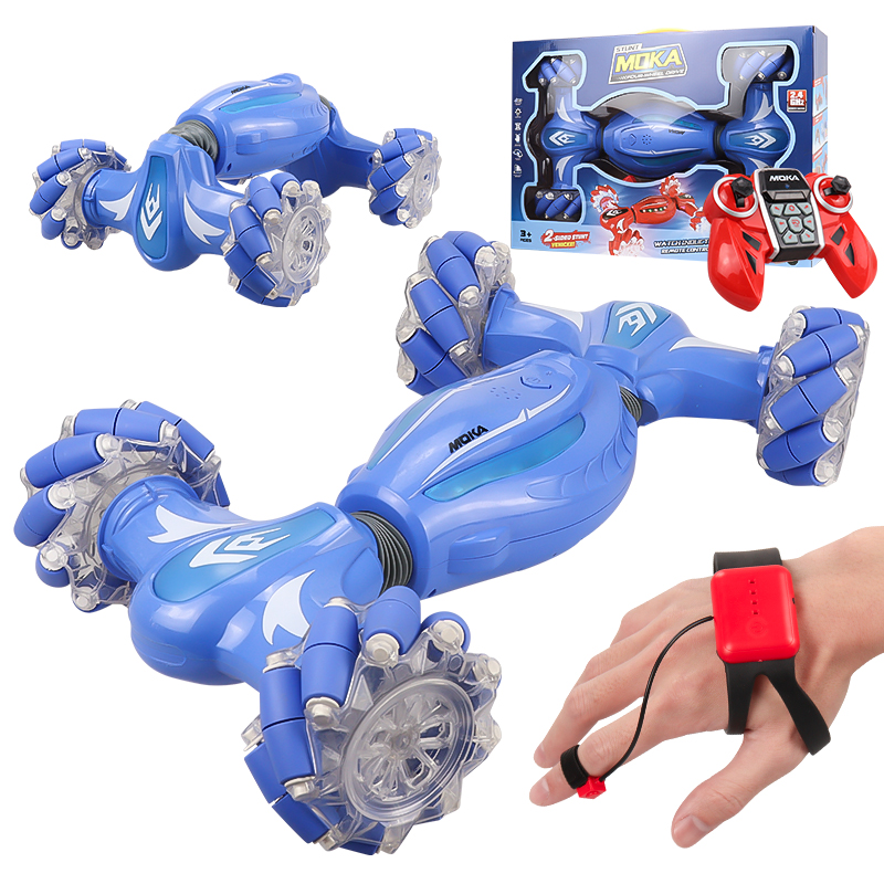 Rc Finger Induction Electric Car Kids Remote Control Stunt Cars Twisting Off-road Vehicle Light Music Dancing Toy Gift For Boys blue