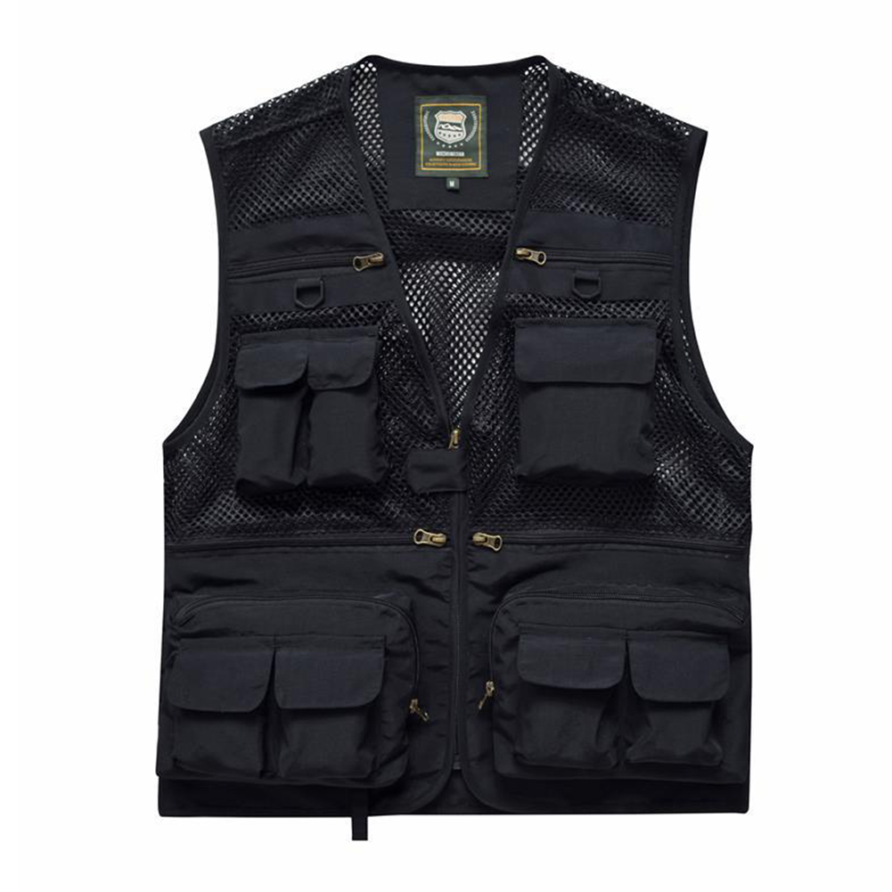 Outdoor Zip Up Fishing Vest Quick-drying Breathable Multi-pocket Mesh Jacket Photography Hiking black_2XL