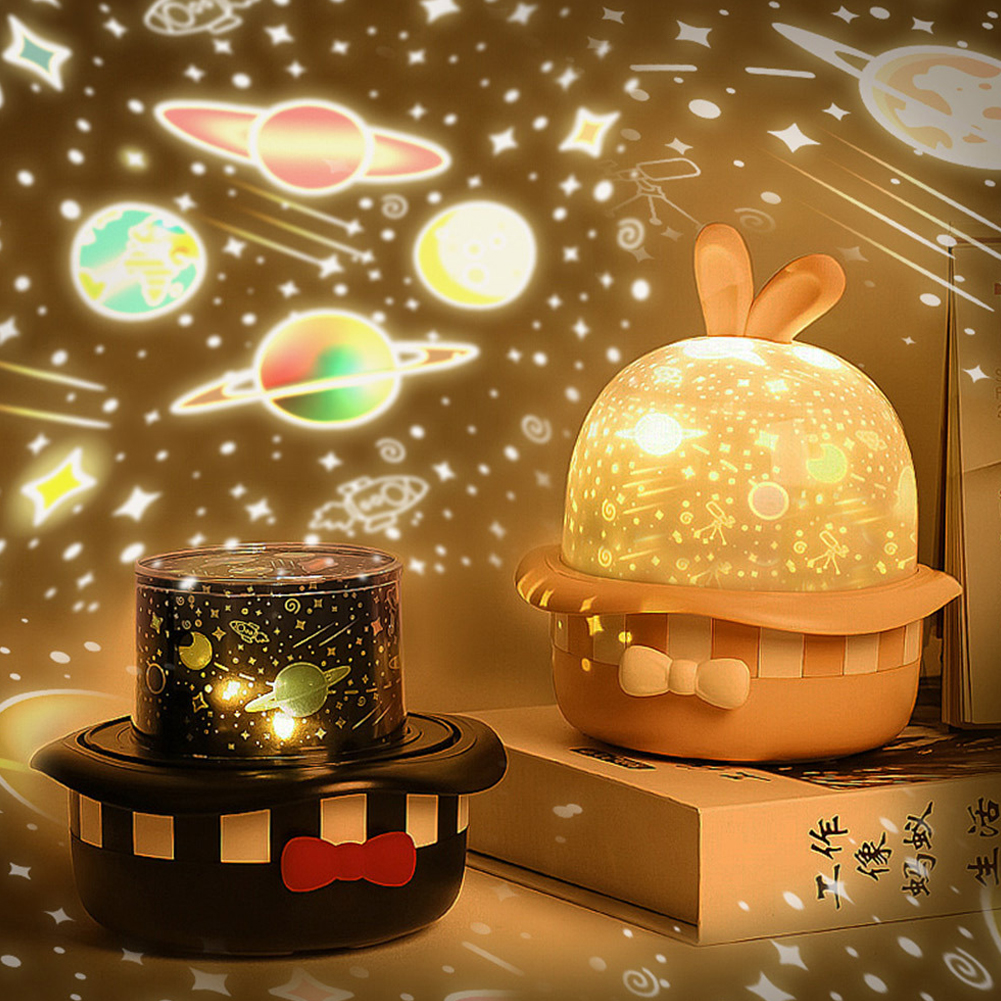 Magic Rabbit Projection Lamp LED USB Rechargeable Rotating Night Lights for Kids Baby Bedroom