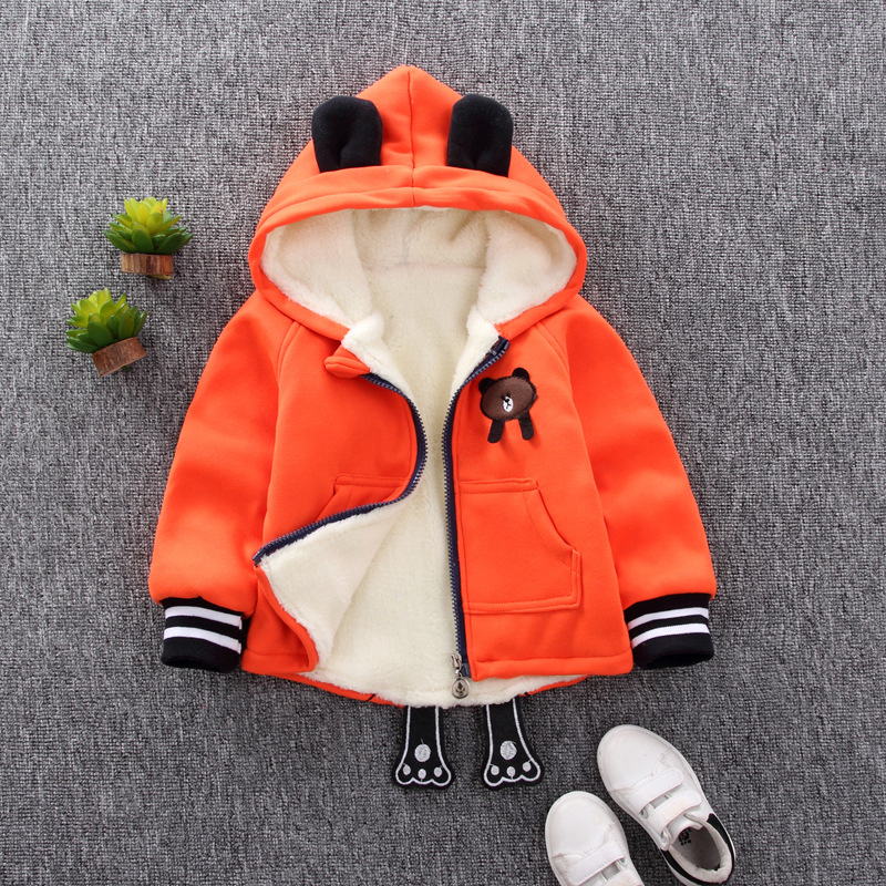 1-4 Years Old Baby Infant Winter Cartoon Zipper Quilted Jacket Coat Cardigan Hooded Sweater YT-single bear orange_120