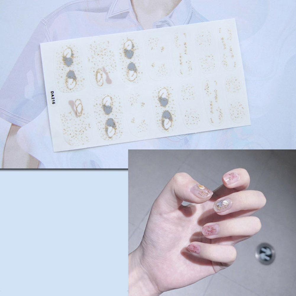 14 Pcs Nail Art Full Cover Self Adhesive Stickers Polish Transfer Tips Wraps Waterproof Nail Stickers Decals