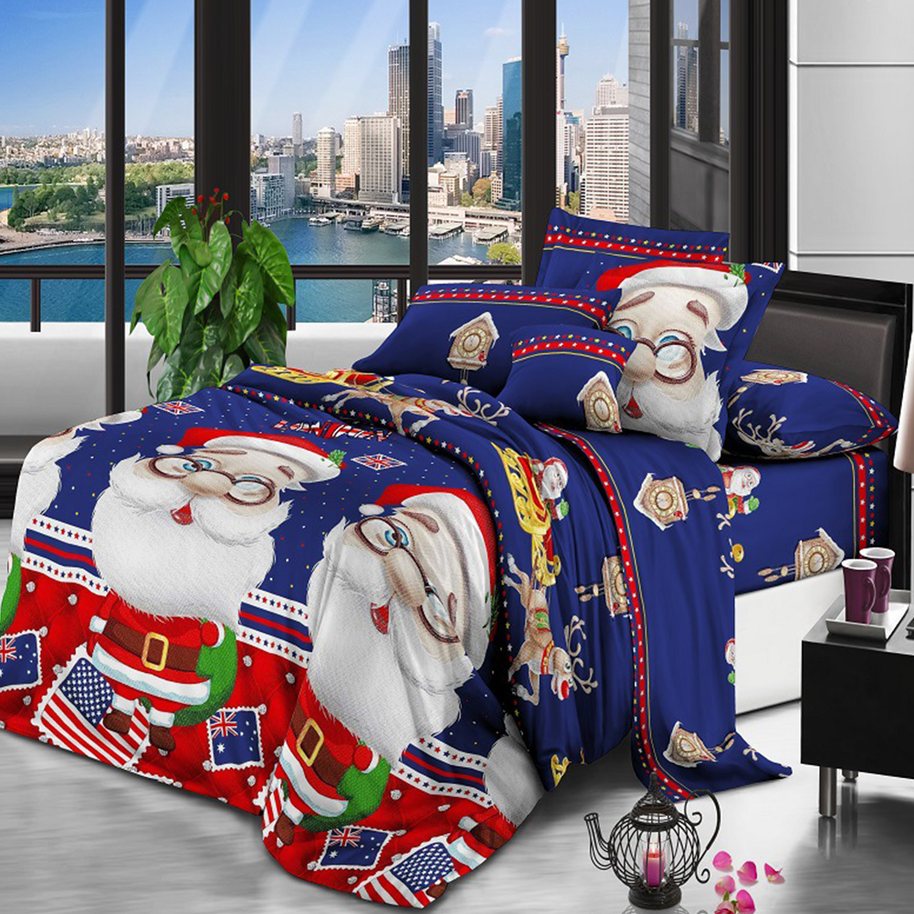 3D Santa Claus Printing Bed Sheet + Quilt Cover + Pillowcase Bedding Set