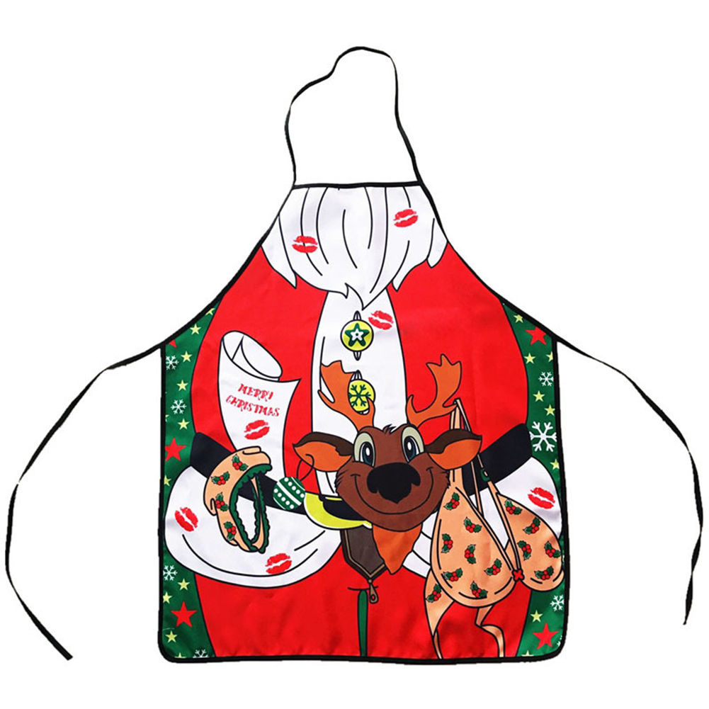 Creative Christmas Exquisite Apron Cartoon Printed Waterproof Unisex Kitchen Dinner Apron Perfect BBQ Baked Grilling Apron