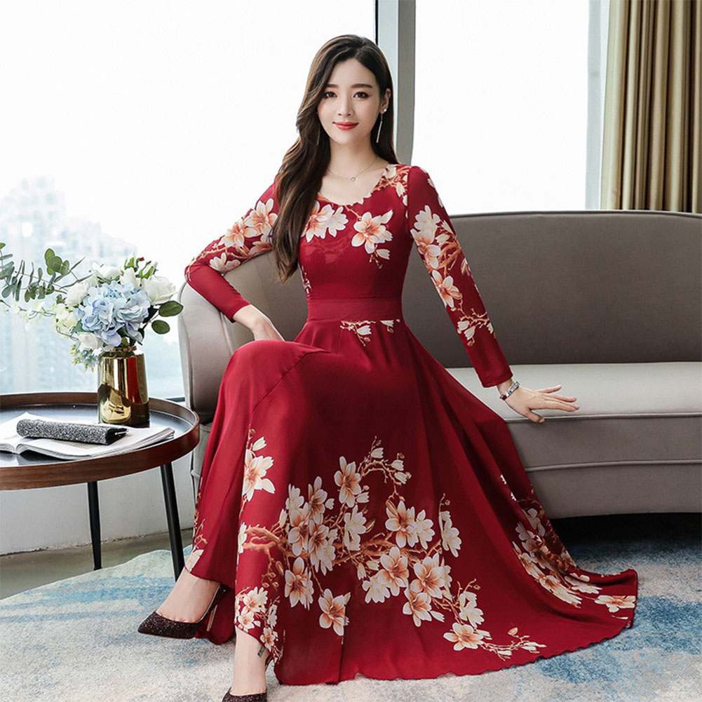 Woman Round Neck Leisure Dress Long Sleeves Dress with Floral Printed Party red_M