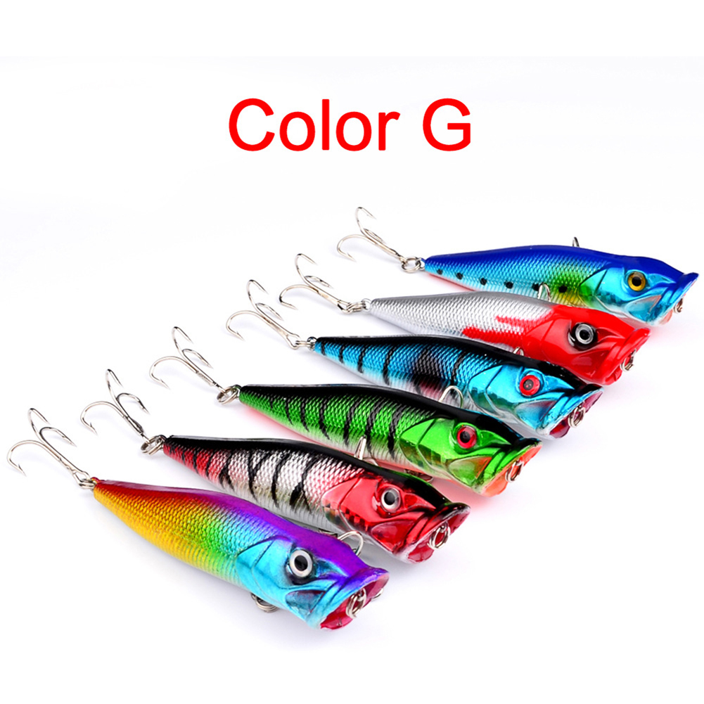 6 Pcs 8CM Plastic Fishing Lures Topwater Floating Popper Lure Hooks Hard Bait Bass Crankbait Colorful 6 Pcs