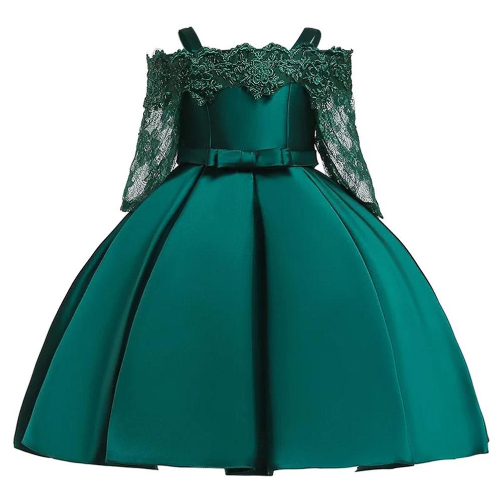Baby Kids Girls Elegent Boat Neck Collar Lace Bowknot Tutu Sling Princess Wedding Dress  dark green_140cm