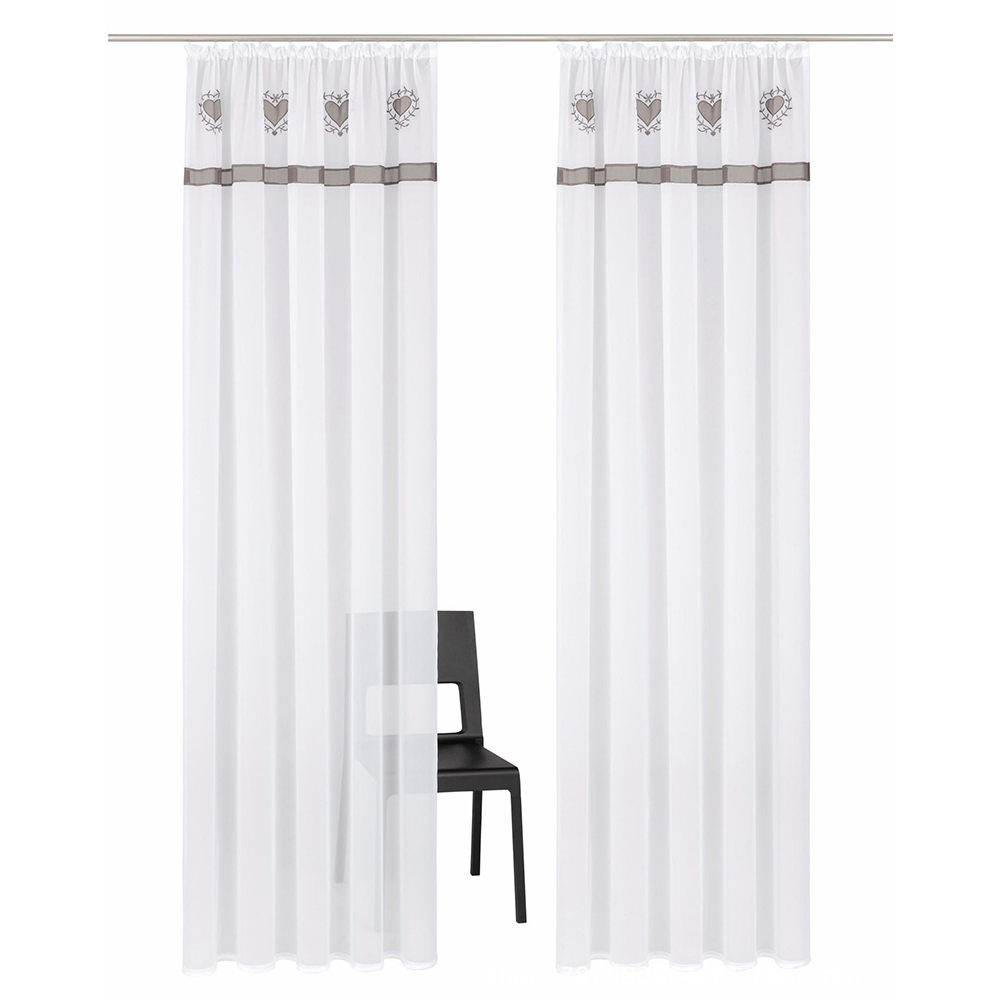 Splicing Embroidered Curtain High Density Terylene Yarn Drapes for Living Room Bedroom Balcony Gray drawstring_140cm wide X 225cm high