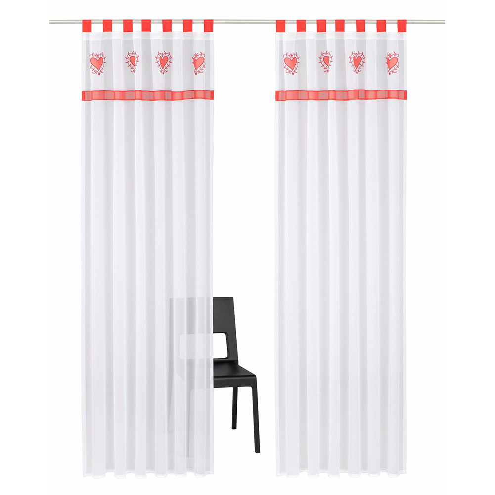 Splicing Embroidered Curtain High Density Terylene Yarn Drapes for Living Room Bedroom Balcony Red suspenders_140cm wide X 225cm high