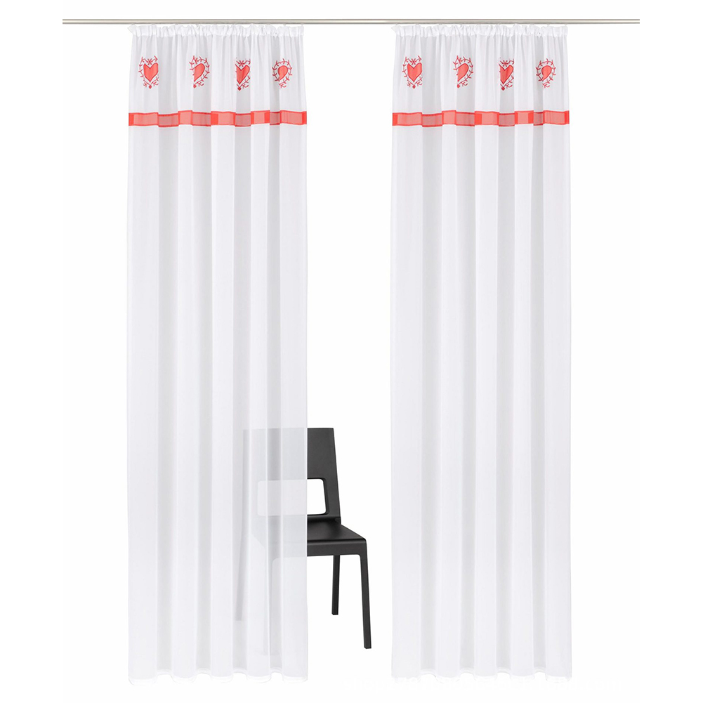 Splicing Embroidered Curtain High Density Terylene Yarn Drapes for Living Room Bedroom Balcony Red drawstring_140cm wide X 225cm high