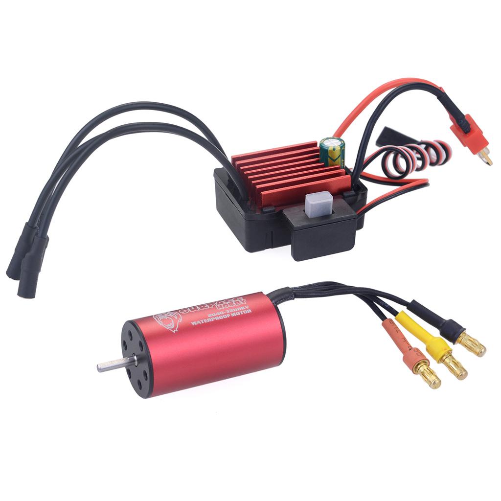 Surpass Hobby 2040 3200kv Brushless Motor + Brushless Speed Controller 35A ESC Waterproof for 1/18 & 1/16 RC Car red