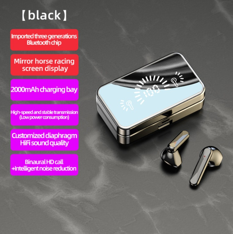 S20 Mirror Surface Wireless Bluetooth Headset Mini Invisible Long Standby Bluetooth Headset Black