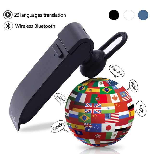 25 Languages Translation Headphones Smart Voice Translator Instant Translate Wireless Bluetooth Translator Earphone blue