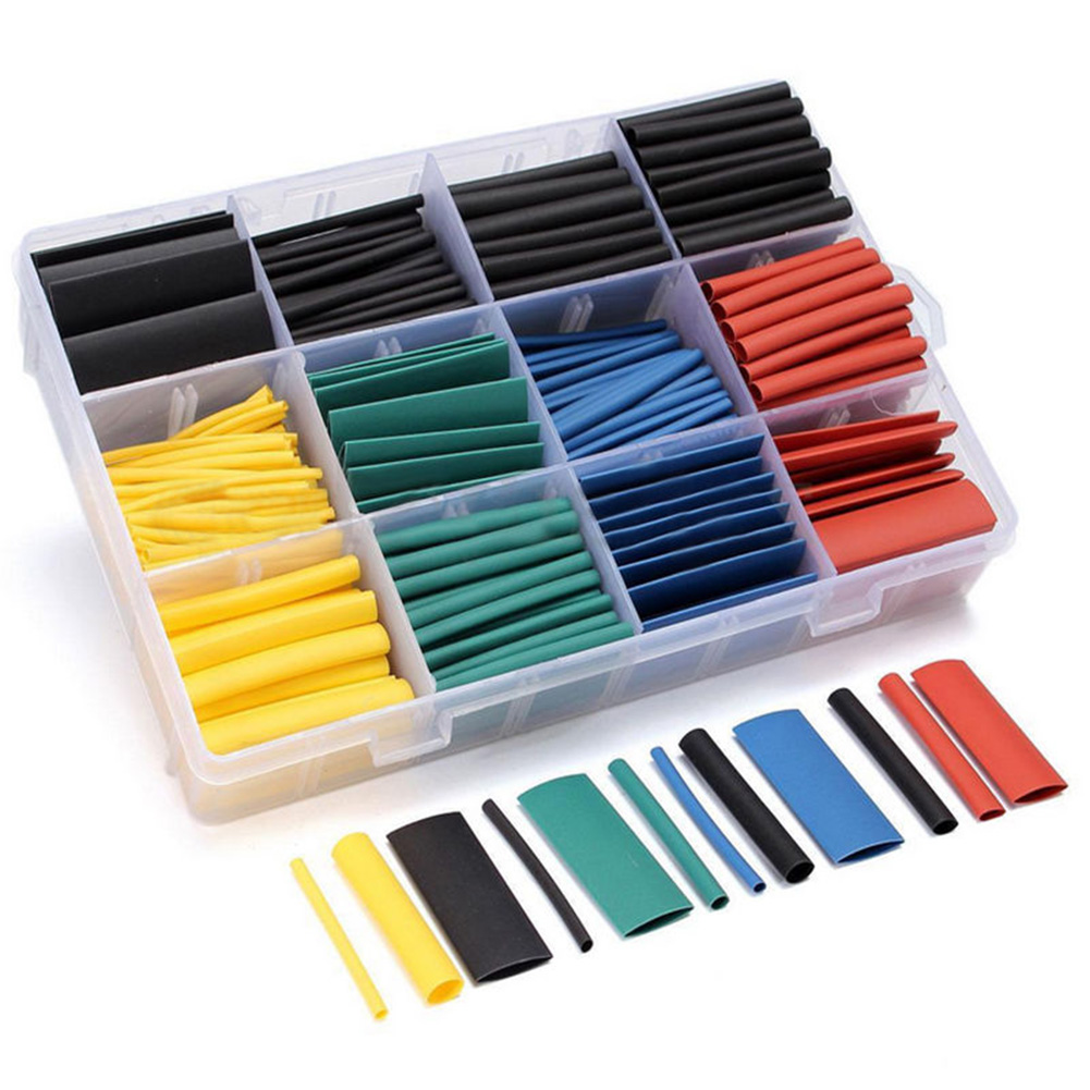530 Pcs/ Box Heat Shrink Tube Tubing Sleeving Wrap Wire Assorted Kit 5 Colors 8 Sizes