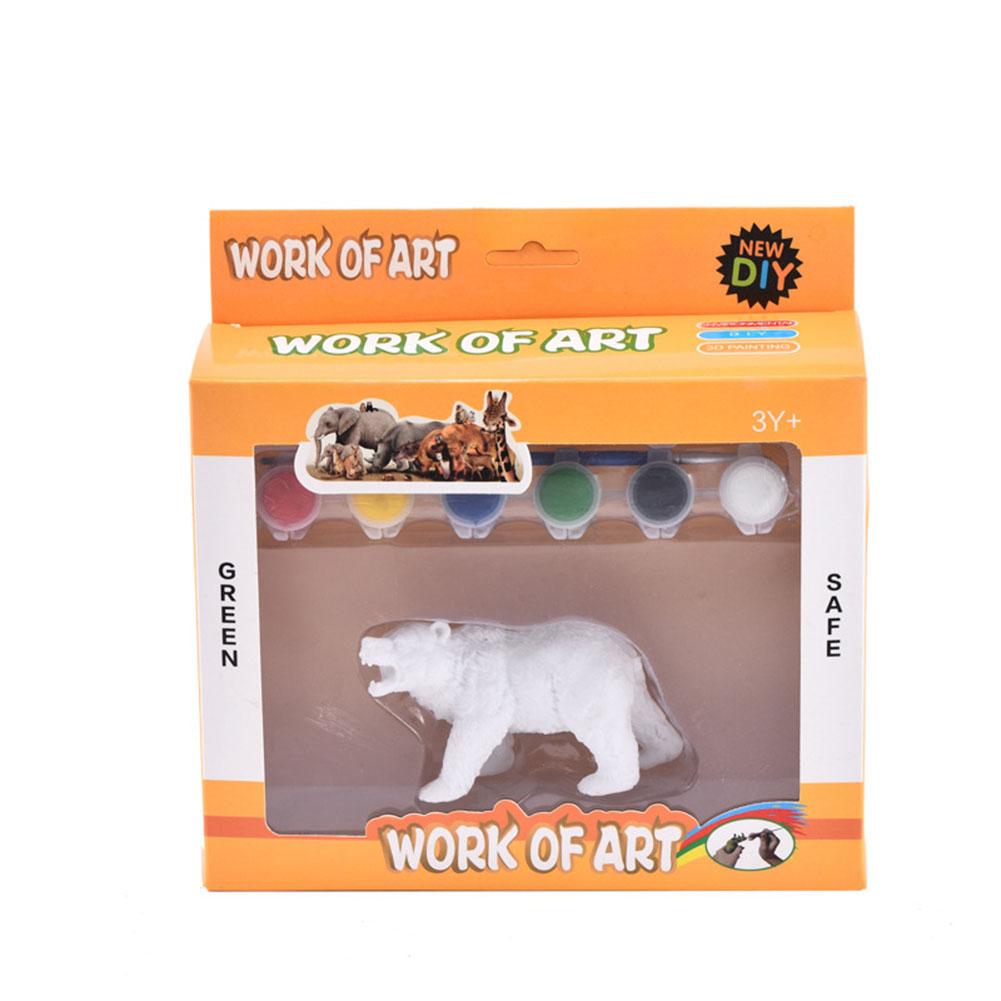 DIY Painted Simulate Animal Modeling Kids Educational Graffiti Toy  Graffiti brown bear