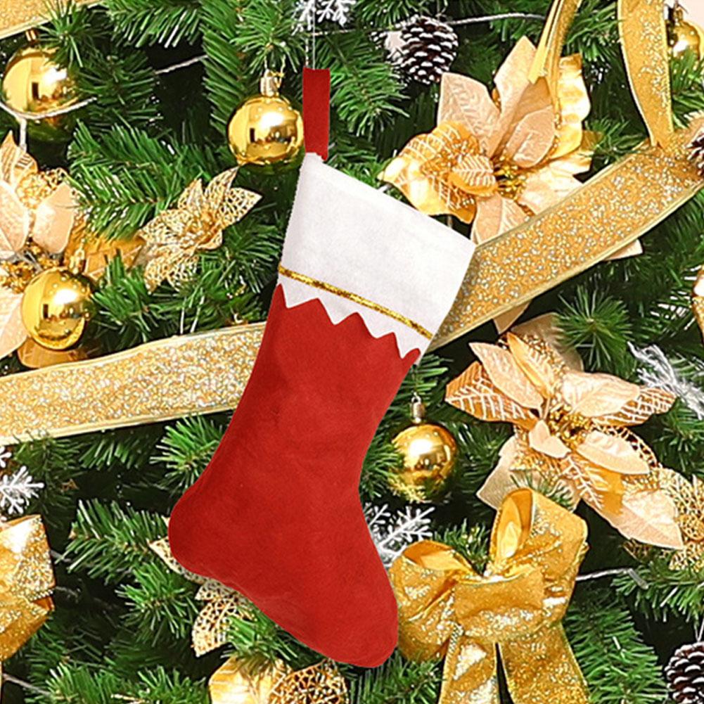 DIY Merry Christmas Sock Storage Candy Holder Gift Bag for Xmas Tree Hanging Decor Pendant  white side