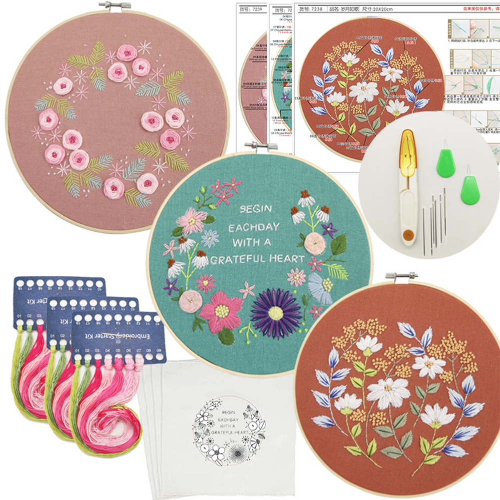 3pcs Hand Embroidery  Tool  Set Three-dimensional Diy Embroidery Kit As shown
